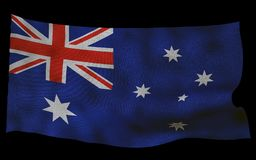 Australian flag with fabric texture. 3D remder. Australian flag with fabric texture. Isolated on black background. 3D render Stock Images