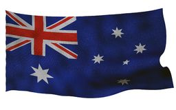 Australian flag with fabric texture. 3D remder. Australian flag with fabric texture. Isolated on white background. 3D render Royalty Free Stock Photography