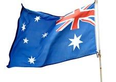 Australian flag. Flying on a white background Stock Photo