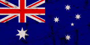 Australian Flag On Grunge Wall Background Stock Image