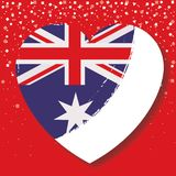 Australian flag on heart in red background with confetti. Vector illustration Stock Photo