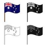 Australian flag icon in cartoon style isolated on white background. Australia symbol stock vector illustration. Stock Image