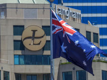 Australian flag and Langham hotel Royalty Free Stock Images