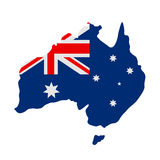 Australian flag on map Royalty Free Stock Image
