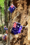 Australian flag, memorial to prisoner of war at  Hellfire Pass, Stock Photos