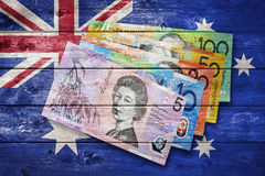 Australian Flag Money. A rustic image using the Australian flag and money Royalty Free Stock Images
