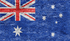 Australian flag over wall Stock Photos