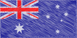 Australian flag.  Pencil drawing vector illustration. Using for decoration works Royalty Free Stock Photography