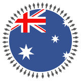 Australian flag with people Royalty Free Stock Image