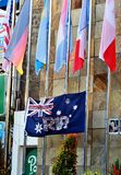 Australian Flag With Photos of Victims of Bali Bombing Plot During Memorial After 15 years Royalty Free Stock Image