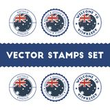Australian flag rubber stamps set. National flags grunge stamps. Country round badges collection Stock Images