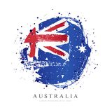 Australian flag in the shape of a large circle. Vector illustration. On white background. Brush strokes drawn by hand. Independence Day in Australia vector illustration