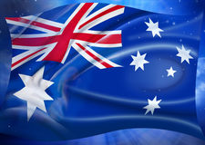 Australian Flag Sky Stars Background. An Australian Flag with a sky and stars background Stock Images