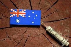 Australian flag on a stump with syringe injecting money stock image