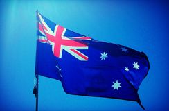 Australian flag. With the sun in the background stock photography