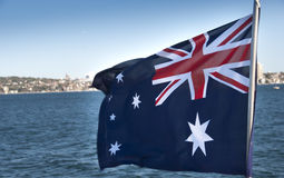 Australian Flag in Sydney Bay Royalty Free Stock Images