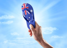 Australian Australia Day Flag Thong Sky stock photo