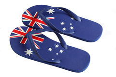 Australian Flag Thongs. Thongs are an Australian Icon. These thongs isolated on white feature an Australian Flag design Stock Images