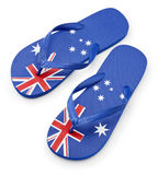 Australian Flag Thongs Sandals. A pair of thongs or flip-flops with an australian flag pattern isolated on white Stock Photography