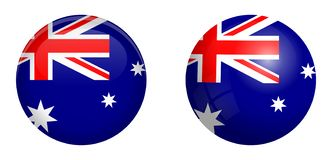 Australian flag under 3d dome button and on glossy sphere / ball.  royalty free illustration