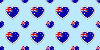 Australian flag vector background. Australia national flag seamless pattern. Vector stickers. Love hearts symbols. language course. S, sports pages, travel stock illustration