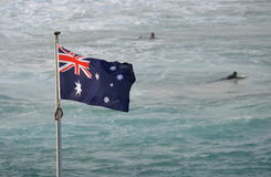 Australian flag waving in the wind Royalty Free Stock Image