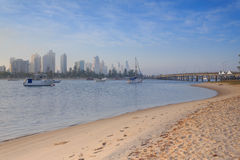 Australian foggy morning along Main Beach suburb Stock Photo