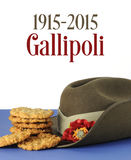 Australian Gallipoli Centenary, WWI, April 1915, tribute. With ANZAC biscuits, army slouch hat and sample text Royalty Free Stock Image