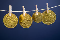 Australian Gold Coins Hanging On Line Royalty Free Stock Photos