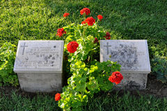 Australian Graves and Flowers at Anzac Cove Stock Photos