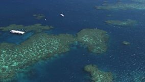 Australian great barrier reef aerial with pontoons for snorkeling