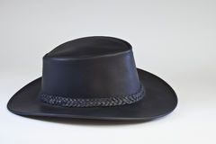 Australian hat. Black leather australian hat. Outback style hat is great for business and dress wear as well as casual wear Stock Photos