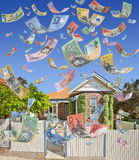 Australian House Money Falling Stock Photography