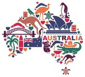 Australian icons in the form of a map. Traditional symbols of Australian culture and nature stock illustration