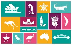 Australian icons. Vector Illustration in flat style. Trraditional symbols of Australian culture and nature royalty free illustration