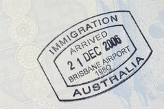 Australian immigration arrival passport stamp Royalty Free Stock Photos
