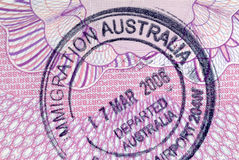 Australian immigration departure passport stamp Royalty Free Stock Images