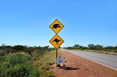 Australian Kangaroo & Eagle warning sign on the s. Ide of a road in Western Australia Royalty Free Stock Image