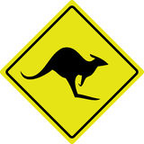 Australian Kangaroo Roadsign Stock Photo