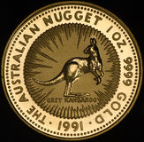 Australian Kangroo Gold Coin on Black Background Stock Photography