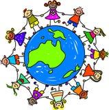 Australian kids. Around the world - toddler art series stock illustration