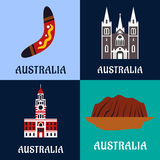 Australian ladscape and architecture flat icons Stock Photo