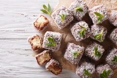 Australian Lamington cake with coconut. Horizontal top view Stock Photo