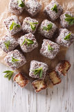Australian Lamington cake with coconut. vertical top view Royalty Free Stock Images