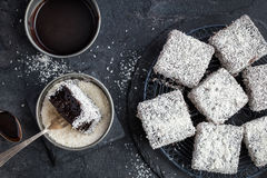 Australian lamington cakes with chocolate and coconut royalty free stock image