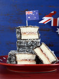 Australian lamingtons closeup Royalty Free Stock Photos