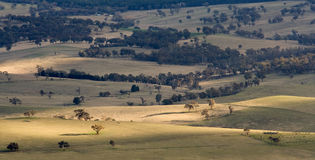 Australian Landscape. Scenic view over typical Australian landscape and agriculture fields and farms stock photography