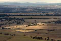 Australian Landscape. Scenic view over typical Australian landscape and agriculture fields and farms stock photos