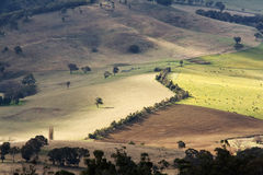Australian landscape and agriculture fields. Scenic view over typical Australian landscape and agriculture fields and farms royalty free stock photo