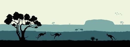 Australian landscape. Black silhouette of trees, kangaroo and ostrichs on white background. The nature of Australia stock illustration